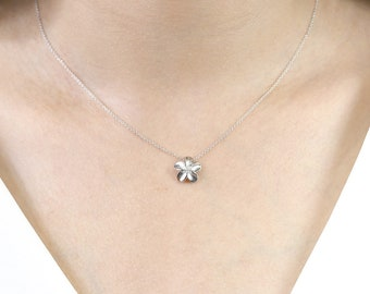 Flower Necklace/0.10 Ct. Genuine Diamond Necklace/Simple Necklace for Women/Flower Diamond Necklace/14K Solid Gold Graduation Necklace