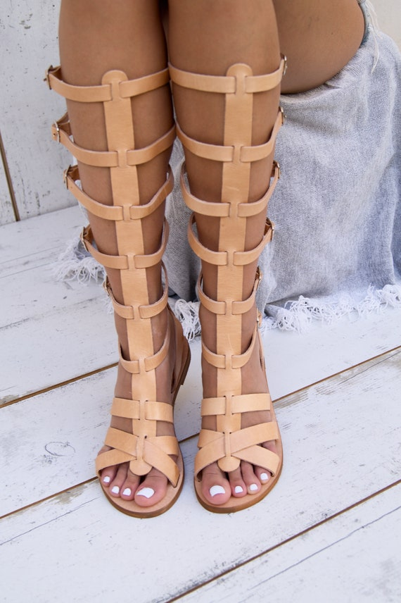 lace grain sandals NICKY up sandals spartan sandals in full sandals Greece gladiator handmade ancient knee from boots greek high leather x7r70Aawq