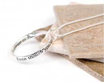 Far Away Thoughts Message slogan necklace - perfect gift (Even though you're far away....you're in my thoughts every day...)