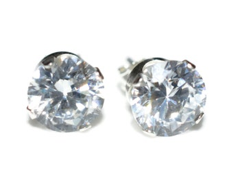 8mm Round Clear Stud Earrings, Cubic Zirconia CZ Sterling Silver - Clear Cubic Zirconia CZ Post-Style Round Sterling Silver Earrings