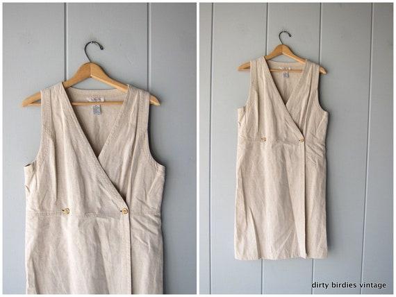 Minimal Linen & Cotton Day Dress 90s Long Midi Beige Sundress Sleeveless Vintage Modern Wrap Summer Dress Casual Womens 8 Medium