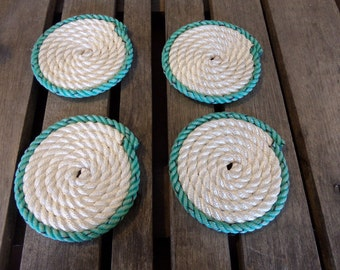 Nautical Coasters Set of 4 White with Green Trim Coastal Beach Rope Coasters Nautical Decor