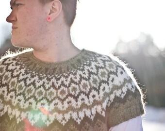 Veturlidi - pattern for short-sleeved Icelandic lopi sweater / lopapeysa wool cardigan tee circular yoke raglan