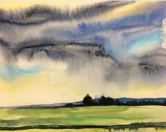 Landscape painting, landscape watercolor, English countryside, stormy clouds, Cloud painting, Field watercolor, field and Sky painting