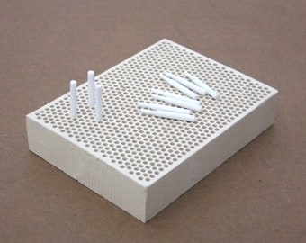 Small Sized Honeycomb Ceramic Soldering Block 4 by 3 Inch With Pins