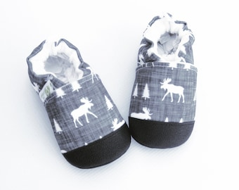 Eco-Canvas Vegan Moose Sketch / non-slip soft sole baby shoes / made to order / babies toddler preschool