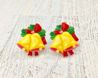 Festive Yellow Christmas Bell with Red Bow and Green Leaves Novelty Stud Earrings, Surgical Steel