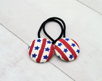 4th of July Ponytail Holder - Red White Blue Hair Clip - Independence Day Hair Tie - America Hair Button - Stars and Stripes Hair Elastic