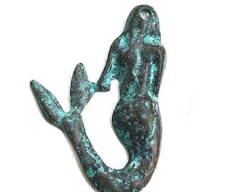 Mermaid pendant Green patina Copper mermaid charm Verdigris rustic greek metal beads Mermaid jewelry making - 45mm - 1Pc - F237
