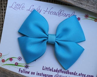 Turquoise Bow Blue Boutique Bow blue hair bow girls ribbon bow large bow