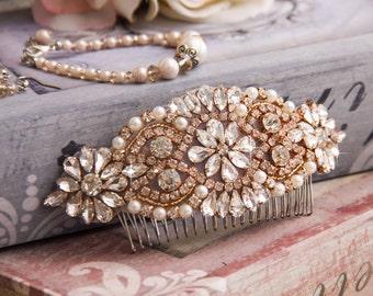 Rose Gold Bridal Hair comb, Rose Gold Wedding Hair comb, Bridal Hair Accessories, Crystal Hair comb, Bridal Head Piece, Wedding Accessories