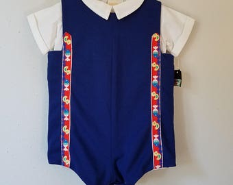 Vintage Navy Blue Polyester Romper with Fish and Duck Retro Trim by C.I. Castro- Size 12 months- New, never worn- new with tag