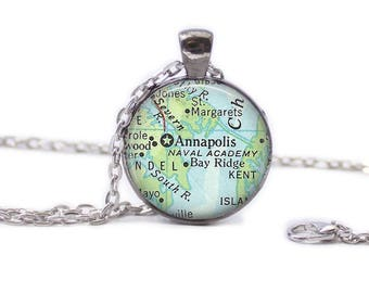 Map of Annapolis Necklace Map Jewelry Travel Necklace Map of Maryland Annapolis Necklace