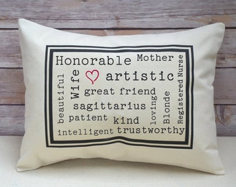 Personalized pillow, Mother's Day gift, best friend gift, adjective pillow Traits birthday pillow, birthday gift idea,Valentine gift idea