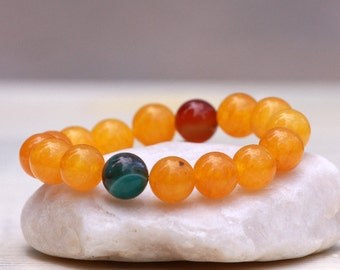Yellow Jade Bracelet, Gemstones Bracelet, Yellow Bracelet, Agate Bracelet, Stretch Bracelet, Yellow Jewelry Gift, Gift Ideas for Women