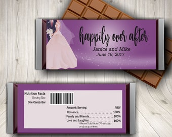 Happily Ever After, Wedding Candy Bar, Wedding Wrapper, Wedding Candy Favors, Wedding Wrapper, Bridal Candy Wrapper, Cheap Wedding Favors