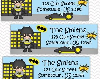 Batman - Superhero - Personalized Address labels, Stickers, Baby Shower, Birthday