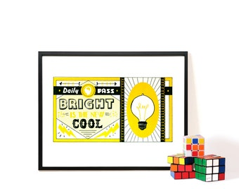 Poster - Smart is the new Cool - Handpulled Screenprint - A3 Poster - child's room - Wall Art
