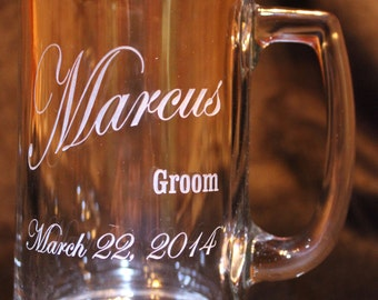 Personalized Glass Mug. Weddings, Birthdays, Gifts, etc.