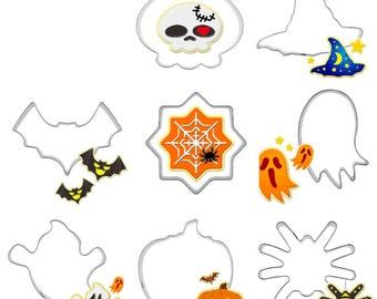 8 pc Halloween Cutter Set - CX-015 - Party Biscuit Fondant Sugar Cutter Skull Hat Bat Spider Web Ghost Ghoul Pumpkin Jackolantern