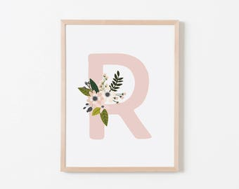 Gray Sprigs R Nursery Art. Nursery Wall Art. Nursery Prints. Nursery Decor. Girl Wall Art. Personalized Wall Art. Monogram Art. Floral Art.
