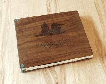 custom logo engraved wood cabin or wedding guest book black walnut rustic anniversary gift memorial book  journal natural - made to order