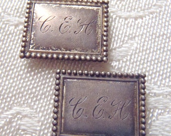 Vintage Buckles Sterling Silver Monogrammed Tiny Size