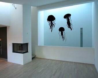 Jellyfish Decals   Vinyl Wall Decals   Jellyfish Silhouette   Beach Wall Decals   Beach Decor   Nautical Decor   Nursery Decals   22513