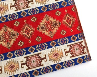 Ethnic Tribal Style Upholstery Fabric, Pillow Fabric, Aztec Navajo Fabric, Geometric Design Kilim Fabric, Red-Blue-White, Ycp-020