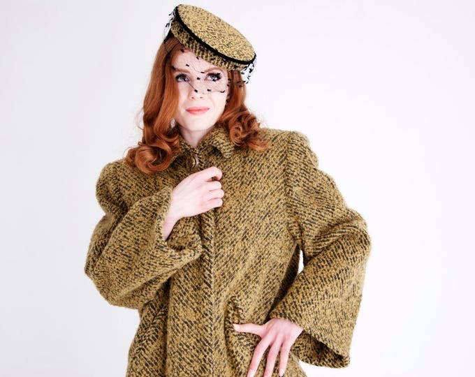 Vintage 1940s swing coat, hat set, tan camel black wool boucle pillbox netting veil, lucite button