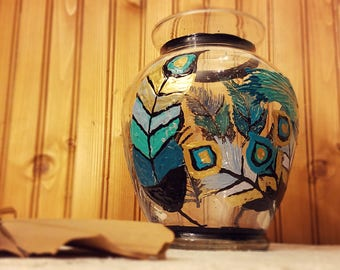 Beautiful feather vase! Hand painted! Only one available.