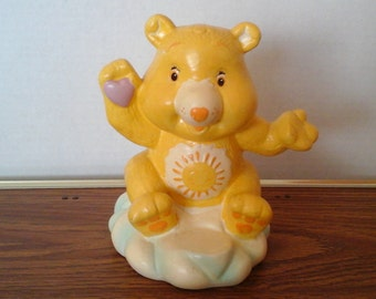 Care Bear Bank, 80s Funshine, Sunshine Bear TCFC, Yellow Ceramic Bear Bank