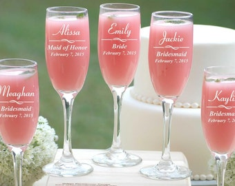 9 Personalized Champagne Glasses, Custom Bridesmaids Wedding Gift, Engraved Champagne Flutes, Wedding Champagne Toast, Personalized Gift