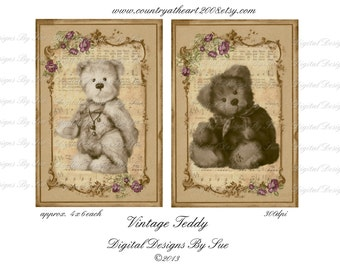 Instant Download - Vintage Teddy -   Printable Digital Collage Sheet  - Romantic Downloads Hang Tags Scrapbooking