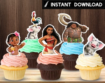 Instant Download - Moana Vaiana Cupcake Topper Baby Moana Pua Maui Heihei Cupcake Toppers Birthday Party Printable DIY - Digital File