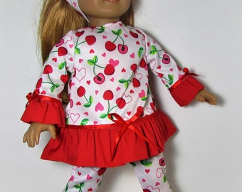 "18"" Doll Clothes fit American Girl Ruffled Tunic & Leggings Set HEARTS and CHERRIES"