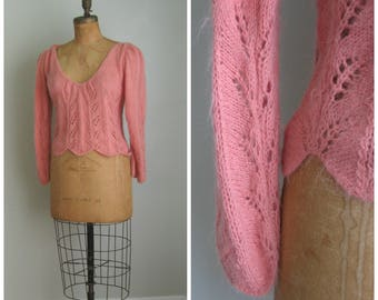 Vintage Peach Dream Open Weave Sweater// Scalloped Edge// 1970's