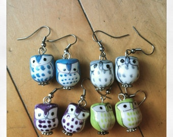 Green owls porcelain earrings