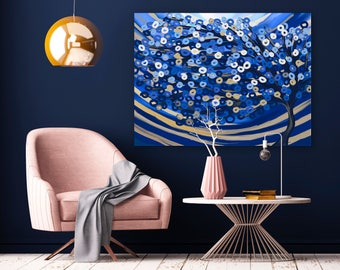 Blue & Gold Abstract Tree Canvas Print - Large Blue Canvas Print - Blue Wall Art, Blue Tree Painting, Blue Tree Print, Blue Statement Art