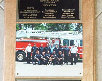 "FIRE DEPT Photo Plaque  9"" x 12"""