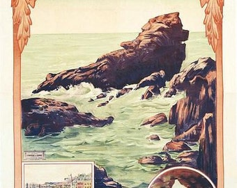 Vintage French Railways Jersey Channel Islands Tourism Poster A3 Print