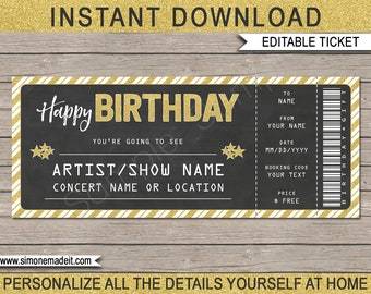 Birthday Concert Ticket Gift - Printable Gift Voucher, Certificate, Ticket - Surprise Concert, Show, Band - INSTANT DOWNLOAD - EDITABLE text