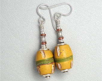 Venetian Fancy Yellow trade bead earrings