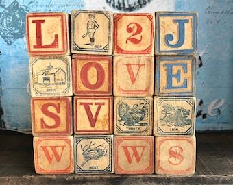 Antique Wood Blocks ABCs, Animals, Numbers/Primitive Toys / Primitive Children's Blocks / Wonderful Graphics