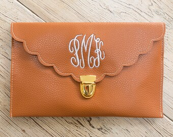 Camel Scalloped Monogram Clutch Purse!!