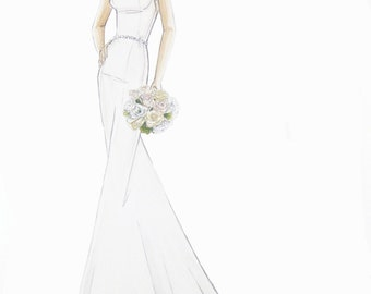Custom Wedding Dress Fashion Illustration/ Bridal Sketch
