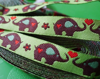 Lime Green elephant Woven Jacquard Ribbon - 1.2cm x 1 meters (JR-024)