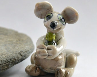 KANGAROO with Wine, Sculpture Collectible, Focal Bead, Pendant, Izzybeads SRA