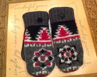 Upcycled Wool Handmade Sweater Mittens - Black Red Grey - A perfect gift!