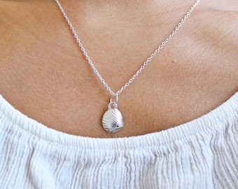 Adorably Cute&Tiny Silver Plated Seashell Necklace - Mermaid Necklace, Beach Necklace, Nautical Jewelry, Seashell Necklace